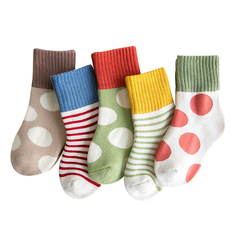 5 Pair Kids Baby Socks Boys Girls Stripe Pattern Cotton Thicken Warm Floor Socks Set Leg Warmer