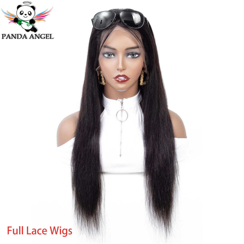 Panda Transparent Full Lace Wig Brazilian Hair Remy 150% Density Pre Plucked Straight Full Lace Human Hair Wigs For Black Women