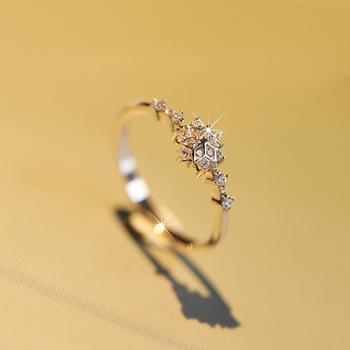10k żółte złoto cyrkon diamentowy pierścionek dla kobiet biżuterii Bizuteria Anillos De kamień Peridot Bague Etoile 10K diamentowy pierścionek s tanie i dobre opinie HOYON Żółte złoto 10 K Kobiety Diamond Vvs1 Okrągły kształt Bardzo dobry 0 2g GDTC Grzywny Pave ustawianie Pierścionki