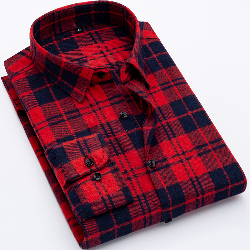 New Arrival 2020 Men's Shirt Fashion Men Long Sleeved Plaid Man Shirt Male Slim Fit Soft Comfortable Brand Clothing DS372