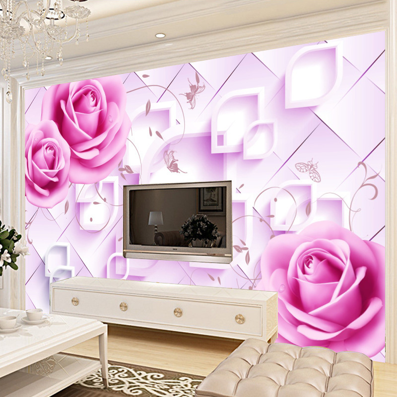 TV Background Wallpaper Non-woven Wallpaper Living Room Bedside Soft Bag 3D Seamless Wall Cloth Large Mural