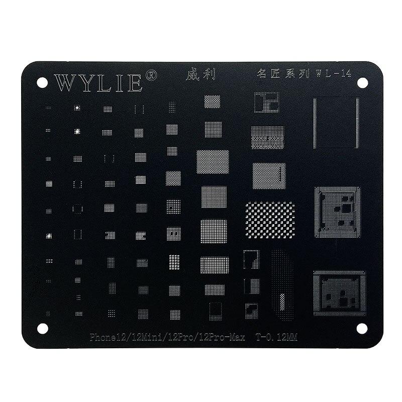Black IC Chip Plus BGA Reballing Stencil for Phone 11Pro Max 12 Mini Pro 11Pro X XS XR XSMAX 8P 8 7P 6P NAND Square Hole Stencil