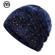 Модная зимняя одежда женская шапка со стразами зимние хлопковая кепка уличная теплая вязаная шапка элегантная женская шапка Зимняя ботинки унисекс из флока;
