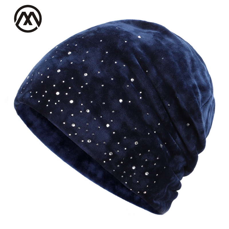 2019 Fashion Winter Woman Cap Diamond Winter Cotton Cap Outdoor Warm Knit Hat Elegant Female Hat Beanie Winter Hat Velvet Design