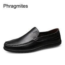 Phragmites Casual Business Dress Men Shoes Genuine Leather Loafers Comfortable Slip-on Zapatos De Hombre Formal Shoes Men Wear цены онлайн