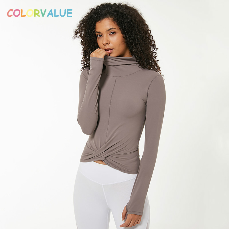 Colorvalue Naked-feels Slim Sport Athletic Long Sleeve Shirts Women High Collar Twist Fitness Yoga Crop Tops With Thumb Hole