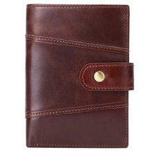 Carteiras masculinas anti roubo rfid cartão titular id pacote curto vertical bolsa carteira de couro genuíno masculino dinheiro saco