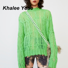 KHALEE YOSE Cable Knit Sweater Pullover Women 2019 Autumn Long Sleeve Sweaters O-neck Oversized Hollow Out Sexy Sweater Jumper mock neck cable knit long sweater