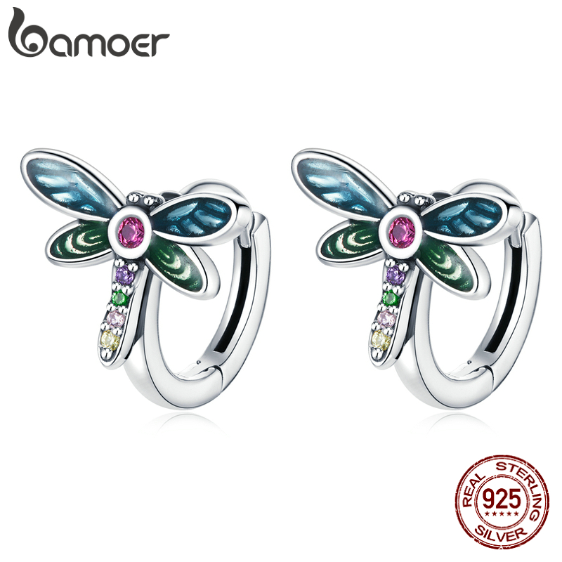 bamoer 925 Sterling Silver Authentic Retro Dragonfly Earrings Buckle Earrings Round for Women Wedding Fashion Jewelry SCE1172