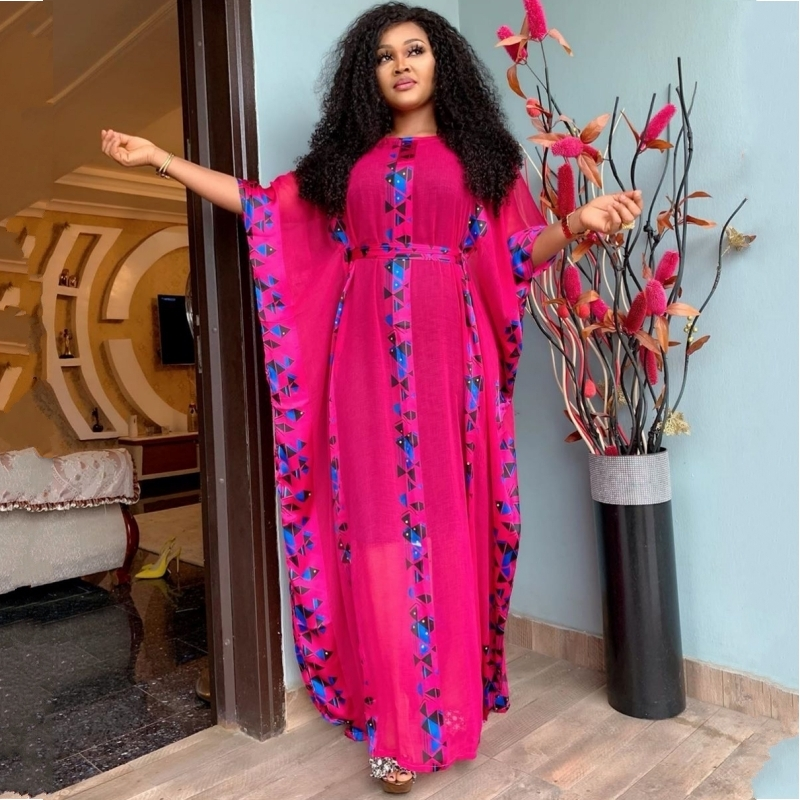 African Dresses For Women Dashiki Snake Pink African Clothes Bazin Broder Riche Sexy Slim Ruffle Sleeve Robe Evening Long Dress