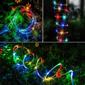 ledniceker multi colored solar led string lights with garden solar panel for garden patio christmas tree parties and all outdoor and indoor activities decoration 4 8 meters long 20 waterproof bulbs Rope Tube Fairy Garden Lights 10M 100 LEDs Waterproof Fluorescent Lamp And Solar Panel LED Christmas Decoration Lights Outdoor