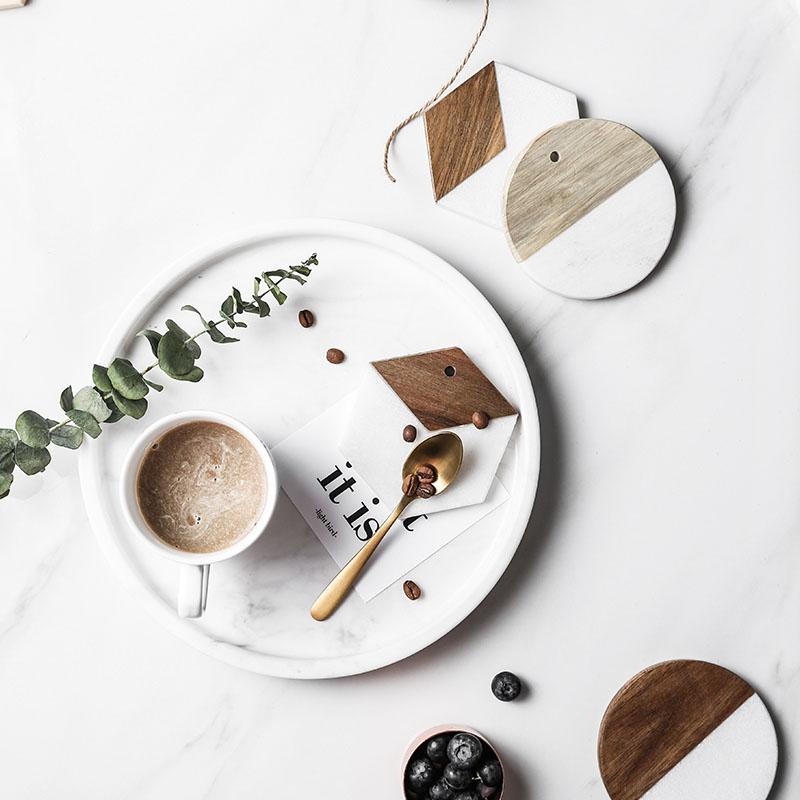 Jinserta Marble Wood Serving Tray Tea Coffee Cup Tray Bowl Table