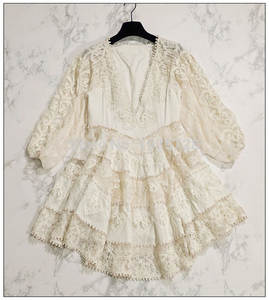 Heart-Sun-Dress Lace Trim PAINTED Length-Sleeves Embroidered Deep-V-Neck Elbow Cream