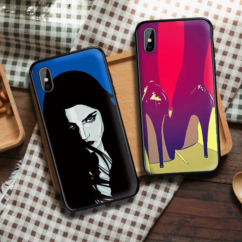 Gợi Cảm Nghệ Thuật Dành Cho iPhone 6 6S 7 8 Plus X XS XR XS Max 5 5s TPU Mềm Mại bảo Vệ Lưng Điện Thoại Ốp Lưng Vỏ