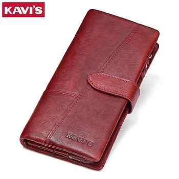 KAVIS Genuine Leather Women Wallet Female Long Clutch Lady Walet Portomonee Rfid Luxury Brand Money Bag Magic Zipper Coin Purse - DISCOUNT ITEM  53% OFF Luggage & Bags