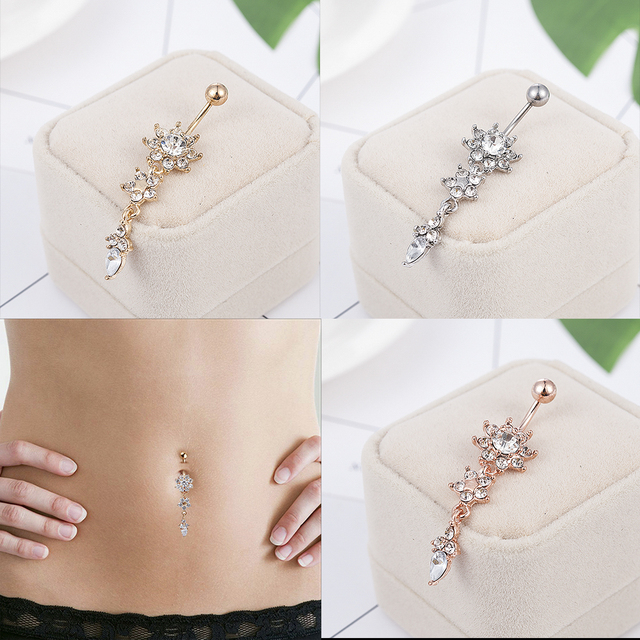 2020 NEW Indian Dangle Belly Bars Belly Button Gold  Rings Belly Piercing Crystal Flower Body Jewelry Navel Piercing Rings
