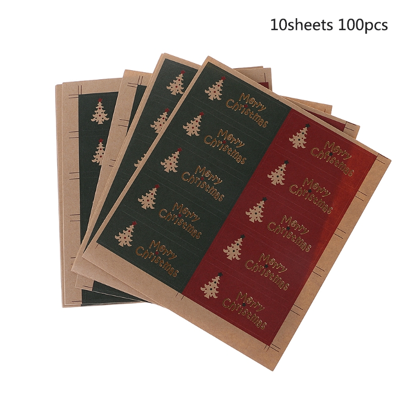 100Pcs Merry Christmas Package Seal Sticker For Gift Label Sticker Scrapbooking