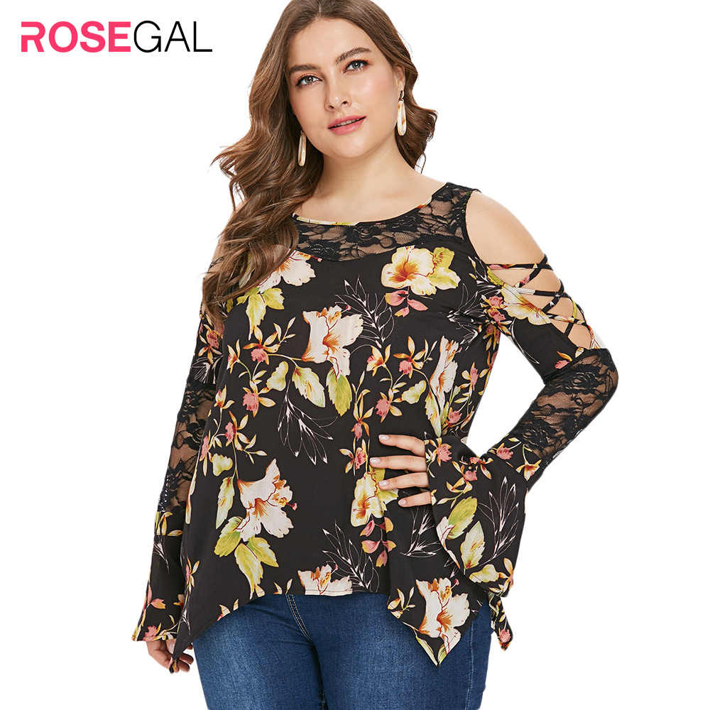 ROSEGAL Plus Größe Frau Spitze Panel Floral Print T-Shirt Flare Lange Hülse Criss-cross Kalten Schulter Oansatz Casual T-Shirts tees