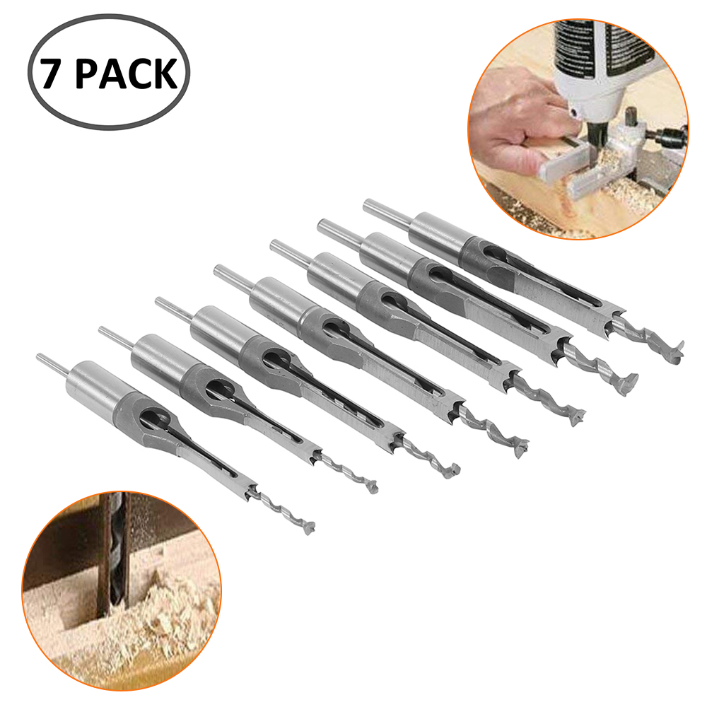 7pcs Square Hole Drill Bit 45 Steel 1/4 To1/2 Mortising Drilling Woodworking Tools 6-12.7mm Mortising Chisel Set Twist Drill