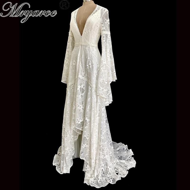 Mryarce Boho Wedding Dresses Bride Robe Slip Dress Keyhole Back Bohemian Bridal Gowns