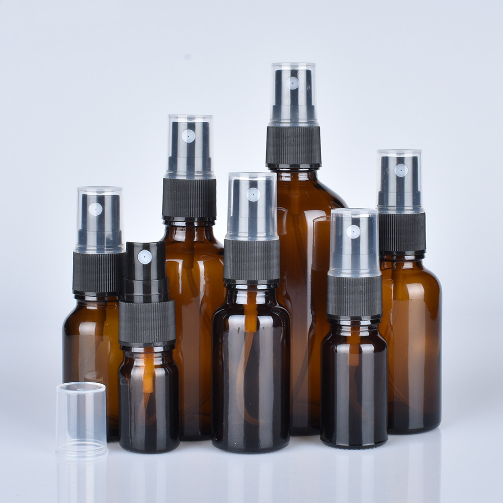 Kostenloser Versand 10 ml/15 ml/30 ml/50 ml Bernstein Glas Spray Flaschen mit Schwarz Feine nebel Spritzen für Ätherische Öle, parfums