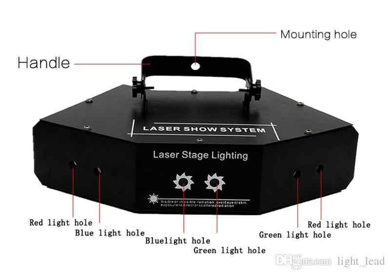 مصابيح دي جي أدى ضوء المرحلة الأحمر الأخضر و الأزرق ستة عيون المسح أضواء الليزر KTV غرف كامل لون أضواء الليزر Dj المعدات