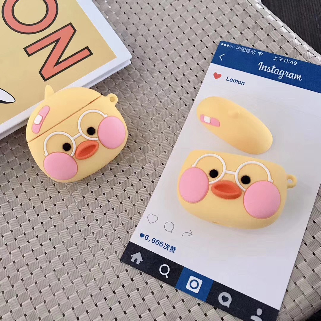 3D Cute Earphone Case for Airpods Case Soft Silicone Duck Egg Headphone Protective Cover for Apple Airpods 1 2 For Earpods Case