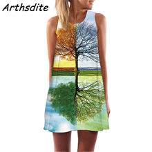 Arthsdite 2019 Womens Dresses Summer Vintage Vestidos Women Boho 3D Floral Print Sleeveless Beach Short Mini Dress Feminine