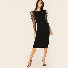 Star Print Mesh Puff Sleeve Slip Hem Bodycon Dress Women Black Long Sleeve Elegant Dress Slim Round Neck Party Dress round neck long sleeve bodycon dress