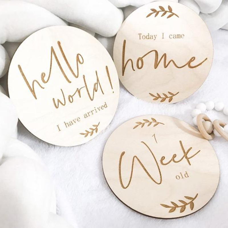 Set Of 3pcs Baby Milestone Plaque Wood Markers Wood Baby Announcement Sign Baby Announcement