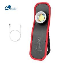 Linterna LED COB portátil, linterna magnética recargable por USB, lámpara con gancho para colgar, modos altos y bajos, iluminación de trabajo