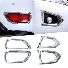 цена на Car Cover Auto Accessories Car Matte Front Rear Fog Lamp Light Cover Trim Frame For Nissan Patrol Y62 2017 2018