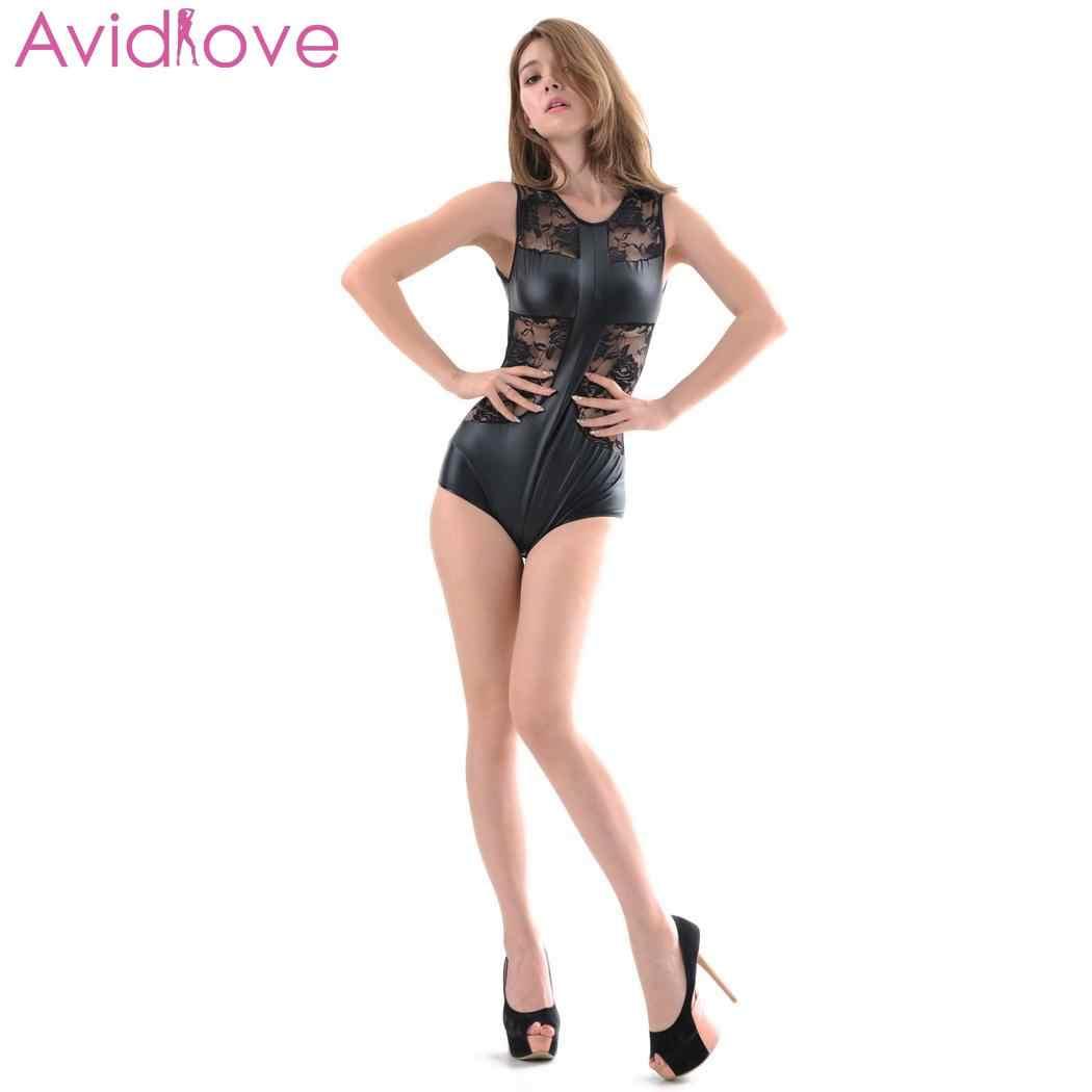 Kadın seksi iç çamaşırı Bodysuit dantel Bodystocking Catsuit Babydoll erotik iç çamaşırı fermuar deri elbise seks giyisi