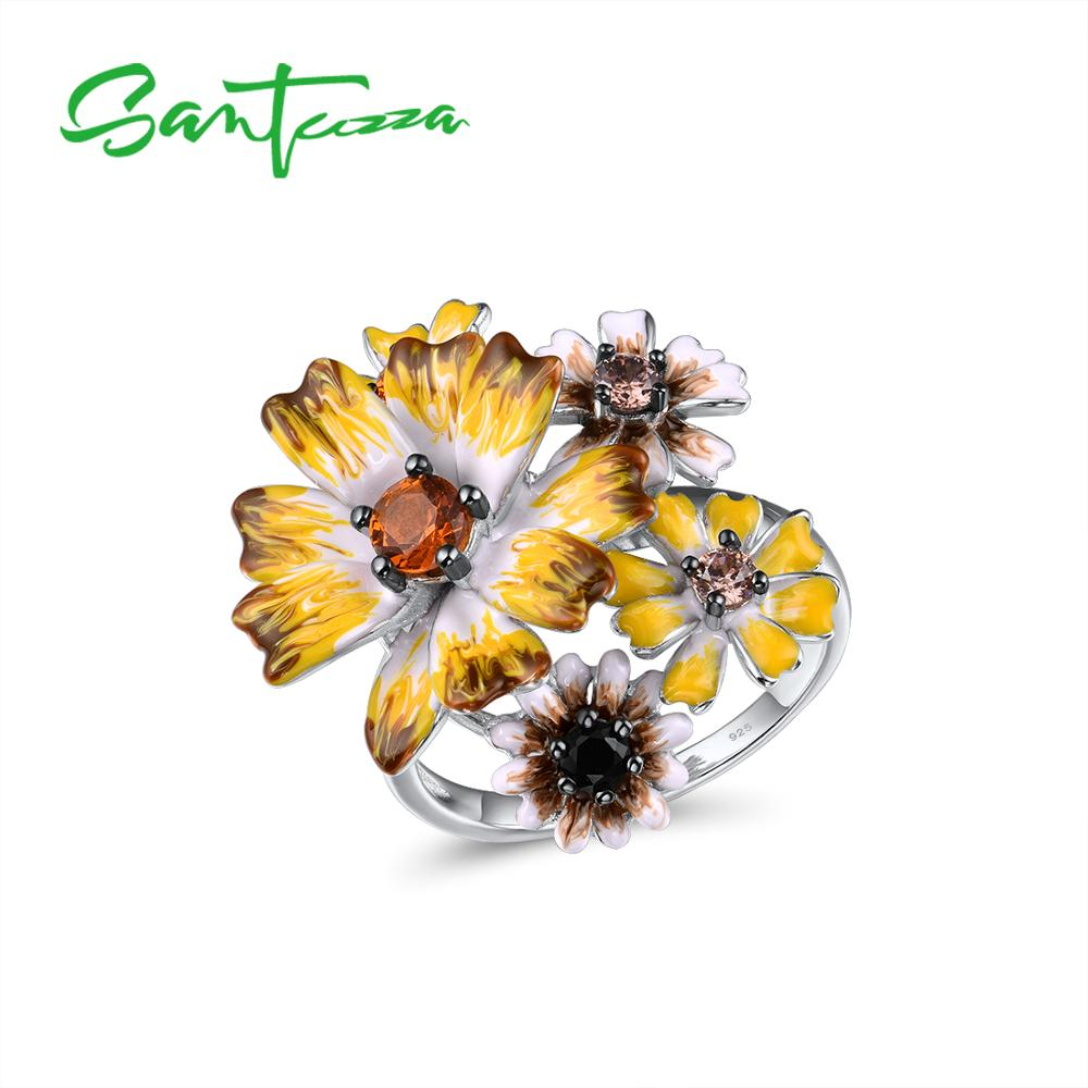 SANTUZZA Silver Rings For Women Genuine 925 Sterling Silver Handmade Enamel Elegant Yellow Flowers Trendy Party Fine Jewelry