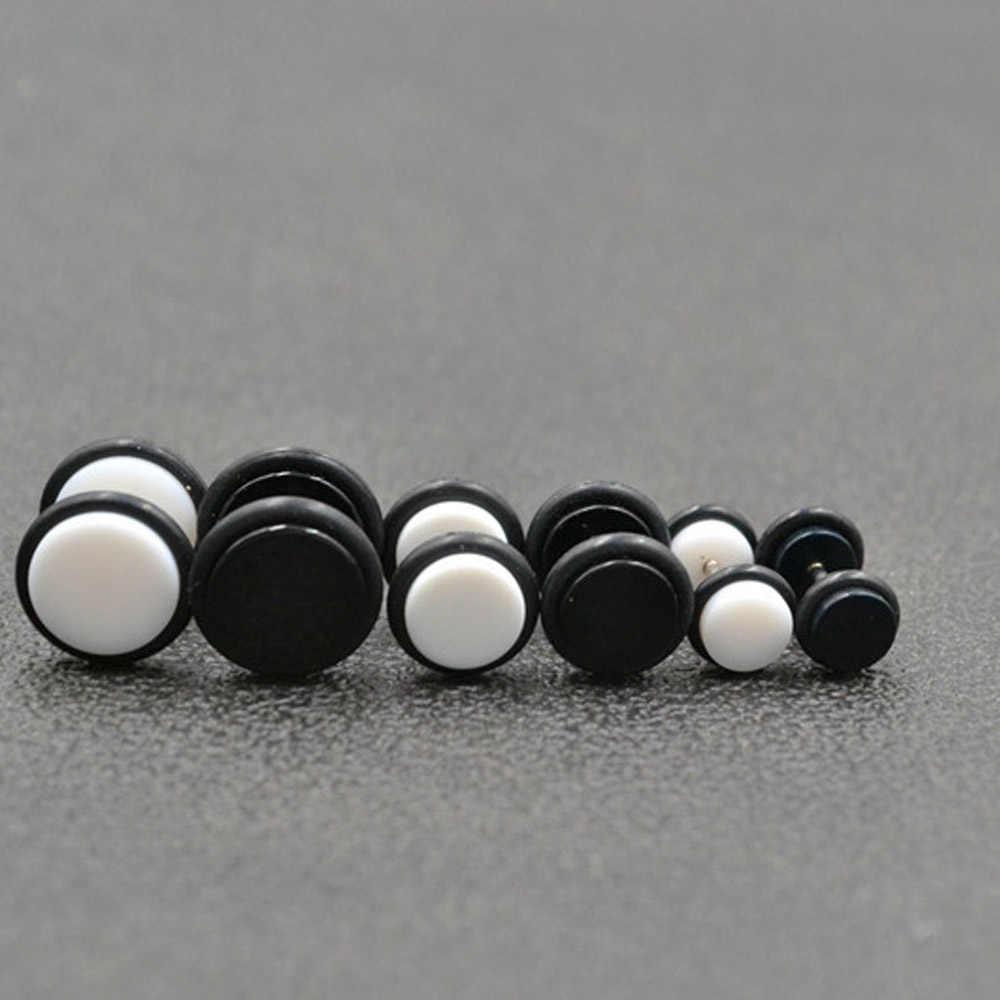 2 PCS עגילי גברים נשים Stud נירוסטה אופנה עגילי תכשיטי גוף שחור 10mm אוזן גוף תכשיטים
