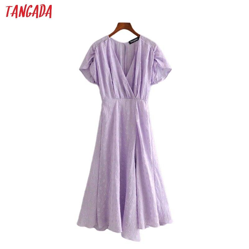 Tangada Fashion Women Embroidery Purple Party Dress 2020 Summer Short Sleeve Ladies Backless Midi Dress Vestidos 3H333