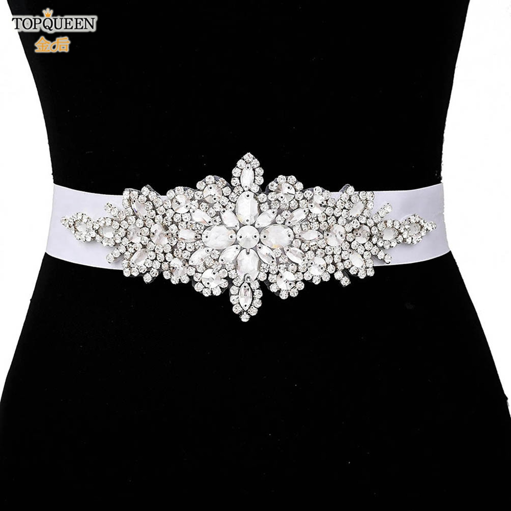 Dress Sequin-Belt Female-Accessories TOPQUEEN Rhinestone Bridesmaid Silver S01 Women