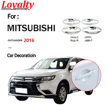 цена на Loyalty for Mitsubishi outlander 2016 External Door handle bowl trim cup hub Trim Cover ABS Silver Car Accessories Auto Styling