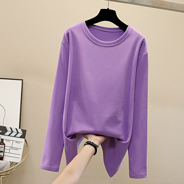 Осенняя женская футболка из 100% хлопка однотонная оверсайз