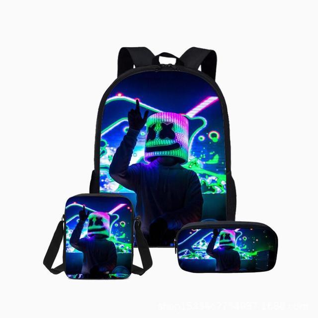 3pcs School Bag Set 3D DJ Marshmello Schoolbag for Teenager Boys Girls Preschool Suppilers Kids Toddler Backpack Women
