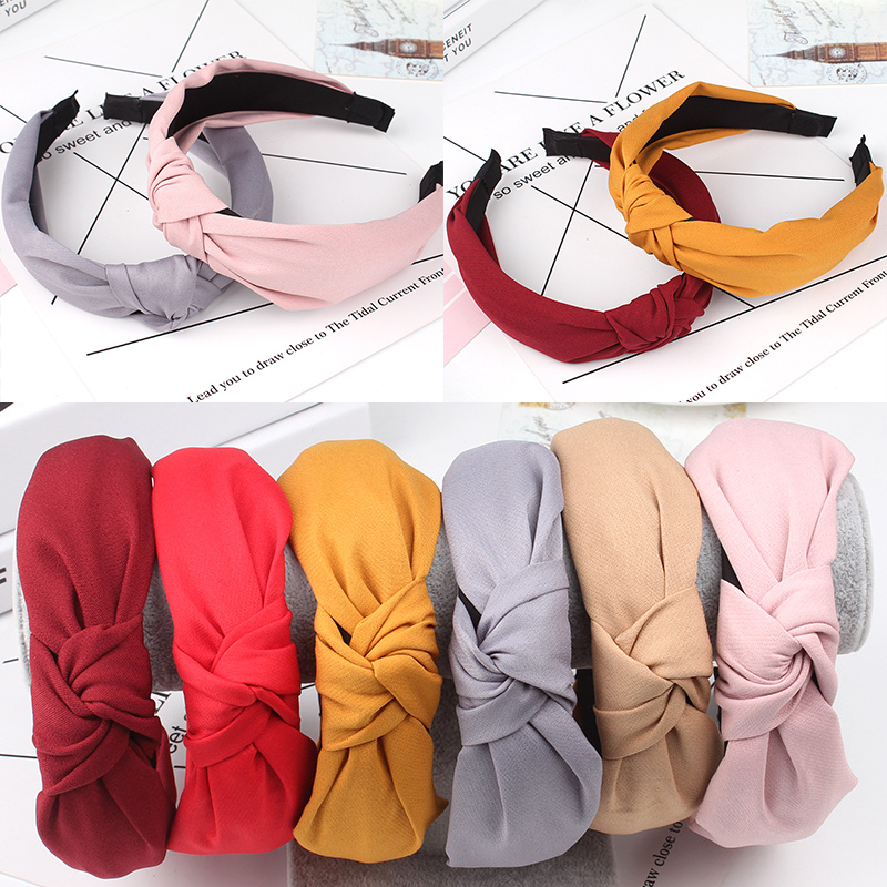 New 1PC Solid Exquesite Girls Bow Knot Turban Hairband Comfortable Soft Cloth Cotton Cross Simple Sweet Headband 8 Colors