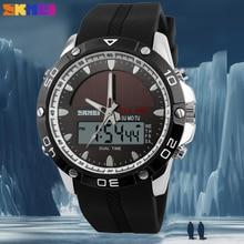 SKMEI reloj deportivo para hombre, reloj de pulsera Masculino, de cuarzo, con pantalla Dual, resistente al agua, con alarma, Masculino