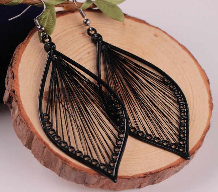 Bohemia hoja hueca gota pendiente para mujeres niñas regalo pendientes joyería Boho hojas pendientes de aleación joyería q0821