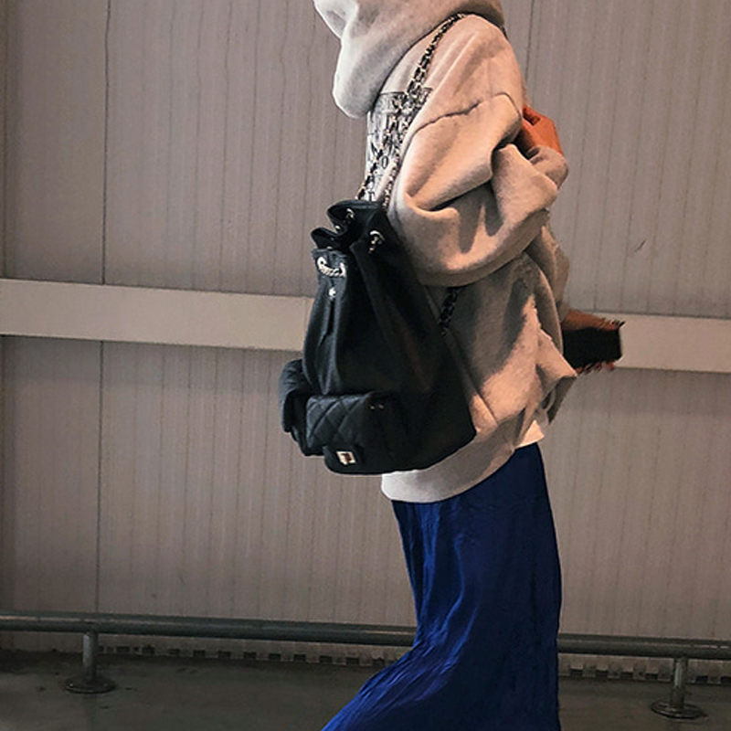 Draw Double Shoulder Bag 2020 New  Lingge Embroidered Tide Lady Backpack Korean Version Single Shoulder Bag Schoolbag