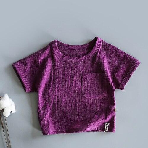 Японская хлопковая тонкая футболка в стиле ретро с коротким рукавом из конопли для малышей летняя рубашка из бамбукового хлопка с коротким рукавом для мальчиков и девочек - Цвет: Фиолетовый