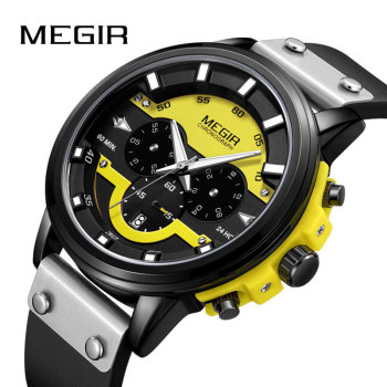 MEGIR New Fashion Quartz Watch Men Leather Watches Top Brand Luxury Male Clock Sport Mens Wrist Watch Hodinky Relogio Masculino