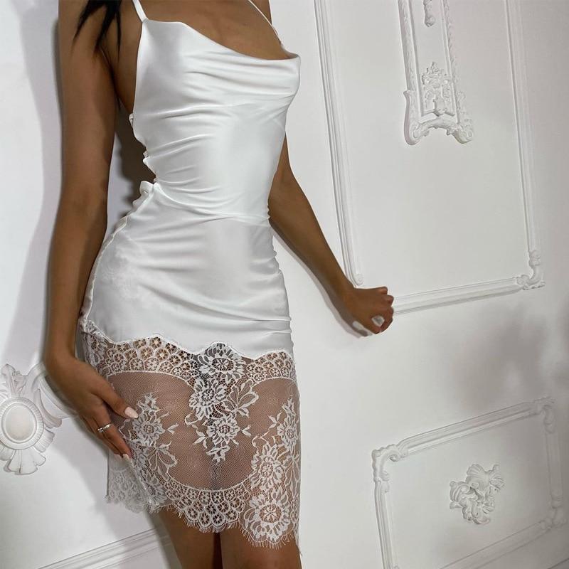 Robe Lace Bandage Backless Midi Dresses Women 2021 Satin Elegant Party Club Sexy Spaghetti Strap Dresses Women's Summer Dress 4