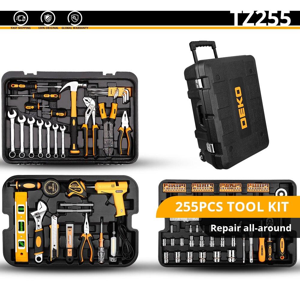 Набор ручных инструментов DEKO, универсальный набор ручных инструментов для домашнего ремонта с пластиковым ящиком для инструментов, чехол для хранения, торцевой ключ, отвертка, нож - Цвет: TZ255