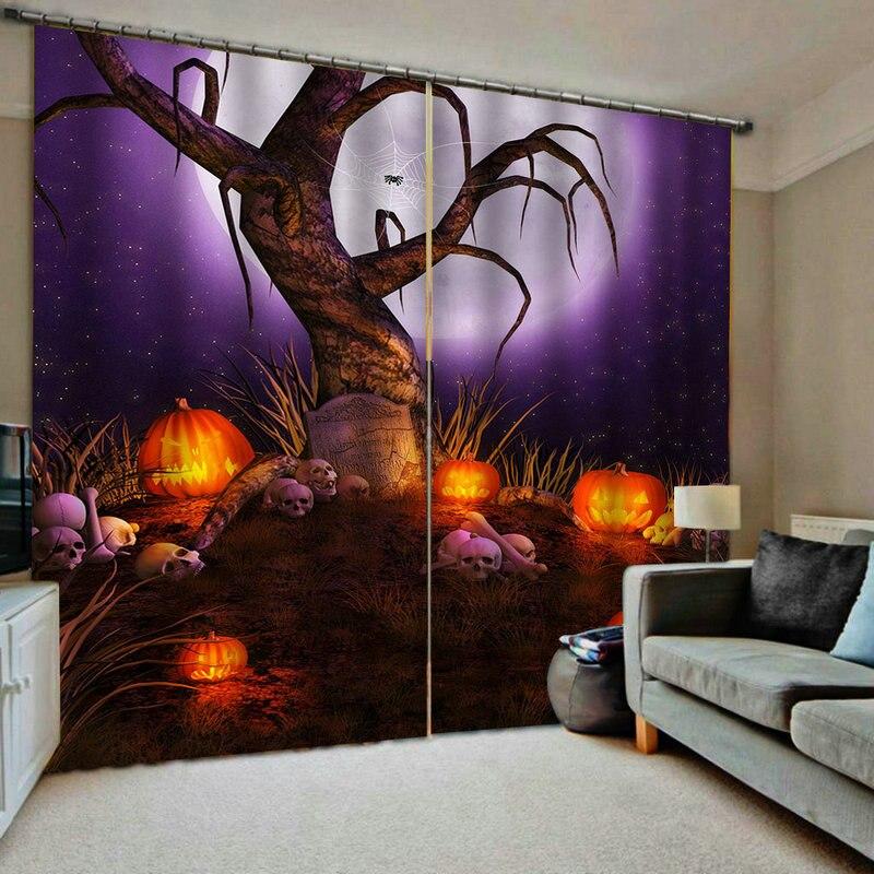 Décorations d'halloween pour la maison occultant 3D Rideaux de fenêtre pour salon chambre Rideaux cortinas Rideaux taille personnalisée