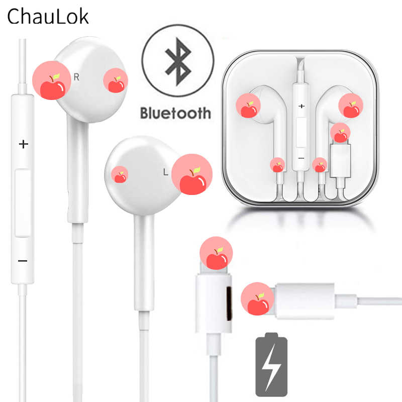In Ear Wired Bluetooth Earphone With Microphone Charge Sport Earphones For Iphone 8 7 6 Plus Xs Max Xr Headset Earbuds For Ipad Aliexpress